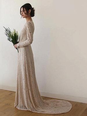Robe de mariée en dentelle avec train A-ligne manches longues col en V robes de mariée ivoire_3
