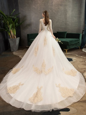 Princess Wedding Dress Ivory Lace Appilque V Neck Half Sleeve Bridal Gown With Train_5