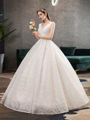 Ivory Wedding Dress Tulle Beaded V Neck Sleeveless Floor Length Princess Bridal Gown_3