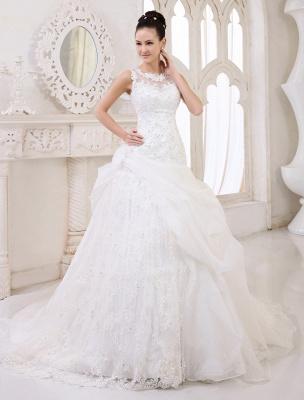 Elfenbeinfarbenes Duchesse-Linienkleid mit Juwelen-Ausschnitt und Pailletten Kapelle-Schleppe-Brautkleid exklusiv für die Braut_1