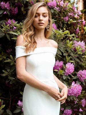 White Simple Wedding Dress Bateau Neck Sleeveless Natural Waist Backless Satin Fabric Long Mermaid Bridal Gowns_2