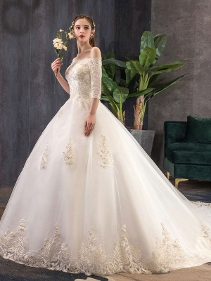 Princess-Wedding-Dresses-Ivory-Lace-Applique-Off-The-Shoulder-Half-Sleeve-Bridal-Gown-With-Train_4