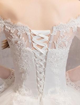 Spitze Brautkleider Elfenbein Schulterfrei Spitze Applique Prinzessin Brautkleid_10