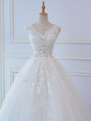 Robes de mariée princesse robes de bal dentelle col en V sans manches longueur de plancher robes de mariée_4