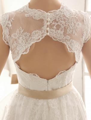 Ivory Simple Wedding Dresses 2021 Lace Applique V Neck Ribbon Sash Short Bridal Dress Exclusive_7