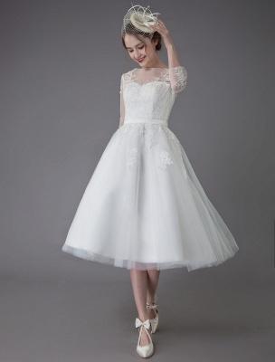 Vintage Wedding Dresses Tulle Bateau 3/4 Length Sleeve A Line Bridal Gown Short Bridal Dress Exclusive_5