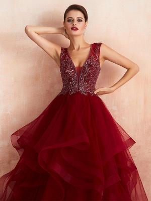 Ball Gown Wedding Dress Princess Floor Length V Neck Sleeveless Sequins Tulle Bridal Dresses_6