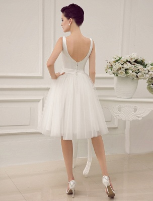 Simple Wedding Dresses Satin Square Neck Applique Short Bridal Dress With Beading Bow Sash Exclusive_4