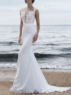 Brautkleid 2021 Jewel Neck Sleeveless Mermaid Beach Wedding Brautkleider mit Sweep-Zug_1