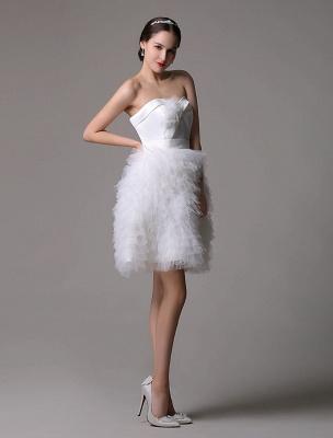 Robe de mariée courte en satin sans bretelles avec jupe fatiguée en tulle_3