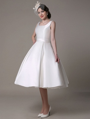 Ivory Wedding Dress Scoop Backless Knee Length Satin Wedding Gown Exclusive_5