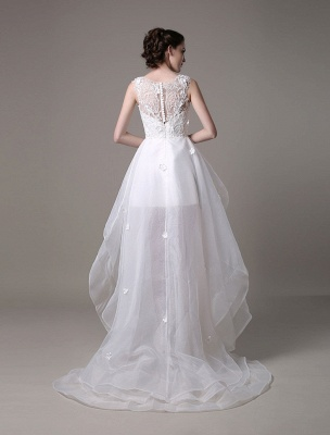 Asymmetrical Organza Wedding Dress High Low A-Line With Lace Beading Flower Exclusive_6