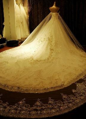 Brautkleider Spitze Applique Brautkleid Trägerlos Schatz-Ausschnitt Perlen Kathedrale Zug Brautkleid_3