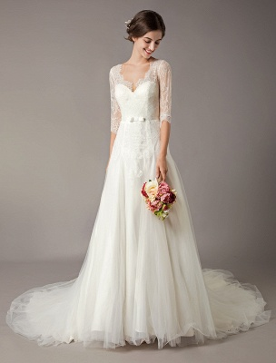 Wedding Dresses A Line Ivory V Neck Lace Tulle Half Sleeve Bridal Dress With Train_3