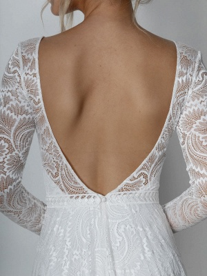 Ivory Lace Wedding Dress Chapel Train A-Line Long Sleeves Lace V-Neck Long Bridal Gowns_10