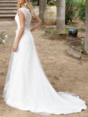 Einfache Hochzeitskleid A-Linie V-Ausschnitt Ärmellose Schärpe Bodenlangen Brautkleider Mit Zug_2