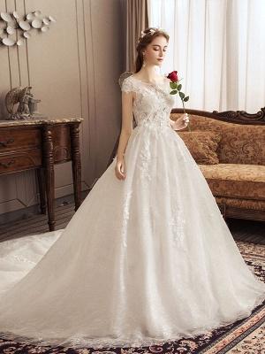 Lace Wedding Dresses Princess Bridal Gown Ivory Jewel Neck Short Sleeve Bridal Dress With Train_3