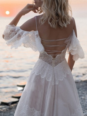 Boho Wedding Dresses 2021 A Line Deep V Neck Straps Lace Short Sleeve Bridal Gown For Beach Wedding With Sweep Train_3