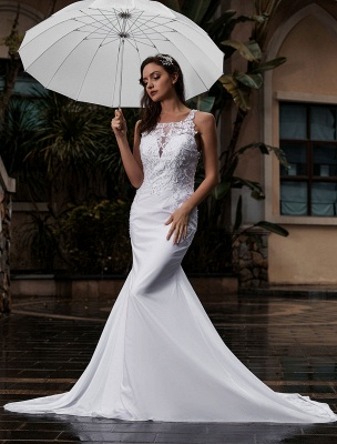 Customize Wedding Dress With Train Sleeveless Beaded Square Neck Bridal Gowns_3