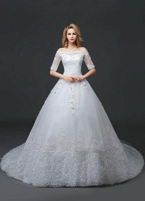 Vestido de novia de princesa fuera del hombro Vestido de novia con cuentas de encaje Vestido de novia de media manga blanco Vestido de novia con tren de la catedral_1