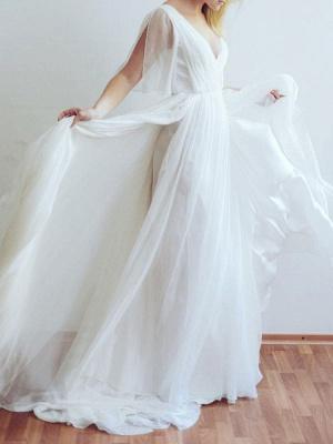 Simple Wedding Dress V Neck Half Sleeves Pleated A Line Floor Length Bridal Dresses_4
