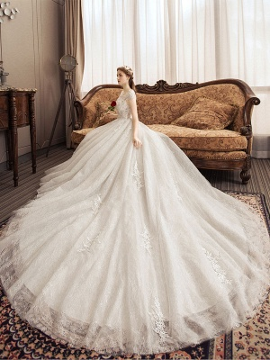 Lace Wedding Dresses Princess Bridal Gown Ivory Jewel Neck Short Sleeve Bridal Dress With Train_5