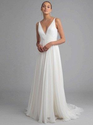 Weißes einfaches Brautkleid Chiffon V-Ausschnitt Ärmellos A-Linie Rückenfrei Natürliche Taille Lange Brautkleider_1