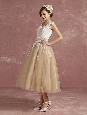 Vestido de novia de la vendimia Vestido de novia corto con apliques de encaje de champán Vestido de novia con cuello de la reina Ana Vestido de novia de la longitud del té_5