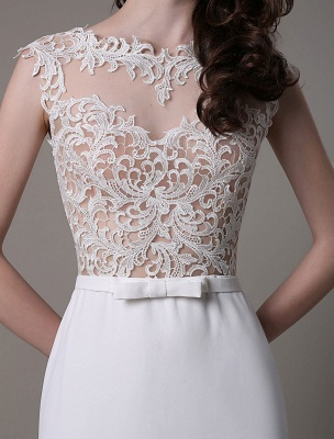Vintage Wedding Dress Lace And Chiffon Sheath With Stunning Bateau Illusion Neckline And Illusion Back Exclusive_9