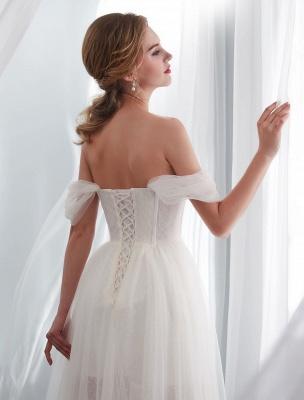 Brautkleider Tüll Elfenbein Schulterfrei Sweetheart Beach Brautkleid mit Schleppe_9