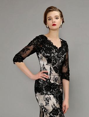Black Wedding Dress Lace Mermaid V-Neck Dress With 3/4 Sleeves_5