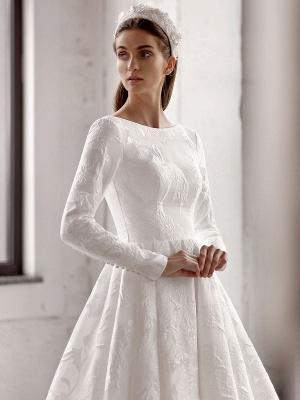 Weißes einfaches Brautkleid mit Zug A-Linie Jewel Neck lange rückenfreie Ärmel Satin Stoff Brautkleider_3