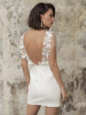 Weiße Kurze Brautkleider Illusionsausschnitt Jewel Neck Kurze Ärmel Mantel Natürliche Taille Spitze Schleifen Cut-Outs Rüschen Brautkleider_6