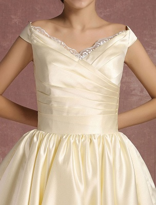 Short Wedding Dresses Satin Vintage Princess Bridal Dress Knee Length Sleeveless Lace Edge Pleated Bridal Gown With Ribbon Bow Exclusive_9