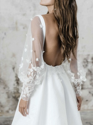 White Simple Wedding Dress A-Line Square Neck Long Sleeves Backless Applique Cut-Outs Split Front Long Bridal Dresses_3