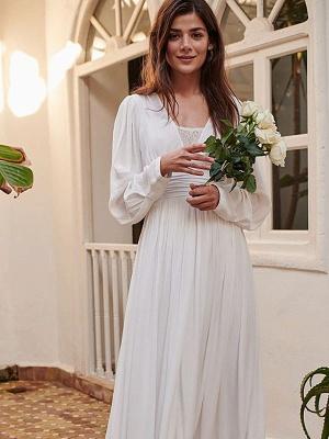Robe de mariée simple ivoire A-ligne col en V manches longues plissée au sol en mousseline de soie robes de mariée_5