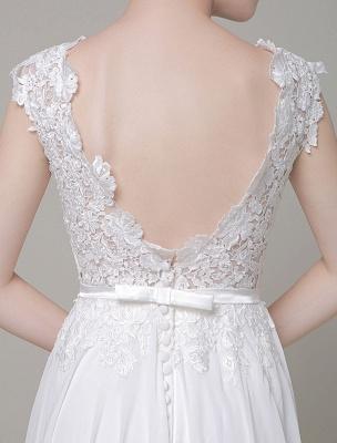 Robe de mariée en mousseline de soie Bateau Dentelle Satin Sash Longueur de plancher Une ligne Robe de mariée d'été_7