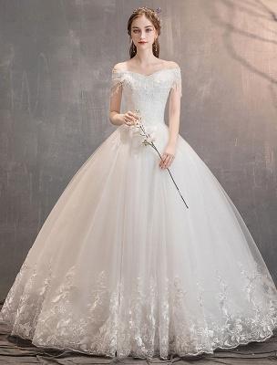 Tüll Brautkleider Prinzessin Brautkleid Schulterfrei Spitze Applique Bodenlangen Ballkleid Brautkleid_1