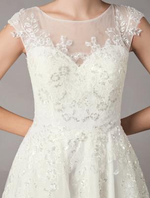 Vintage Wedding Dresses Short Lace Tulle Sequin Tea Length Ivory Bridal Dress_7