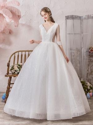 Brautkleid Prinzessin Silhouette Bodenlangen V-Ausschnitt Ärmellos Natürliche Taille Perlen Lycra Spandex Brautkleider_2