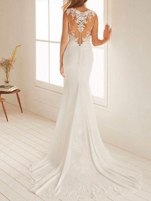 Simple Wedding Dress Mermaid Chiffon Jewel Neck Sleeveless Floor Length Beach Bridal Gown With Court Train_2