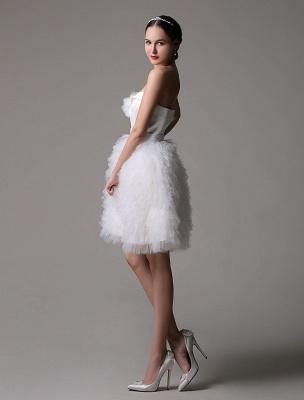 Robe de mariée courte en satin sans bretelles avec jupe fatiguée en tulle_4