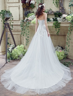 Tulle Wedding Dress Lace Beading Bridal Gown Strapless Sweetheart Chapel Train A-Line Backless Bridal Dress_5