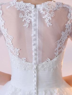 Vestidos de novia cortos Vestido de novia blanco con apliques de encaje de media manga hasta el té_7