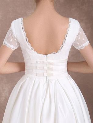 Vintage Wedding Dress Short Sleeve 1950'S Bridal Dress Backless Polka Dot Lace Trim Ivory Wedding Reception Dress Exclusive_10