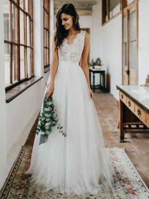 Simple Wedding Dress Tulle A Line V Neck Sleeveless Lace Floor Length Bridal Dresses_4