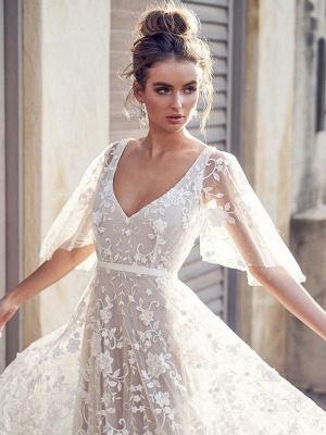 White Lace Wedding Dress V Neck A-Line Wedding Dress Short Sleeves Backless Bridal Dresses_4