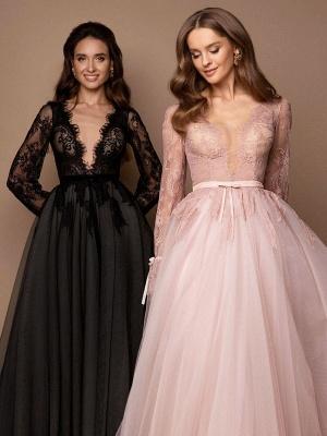 Robe de mariée noire avec train A-ligne col en V manches longues dentelle balayage tulle dentelle robes de mariée_3