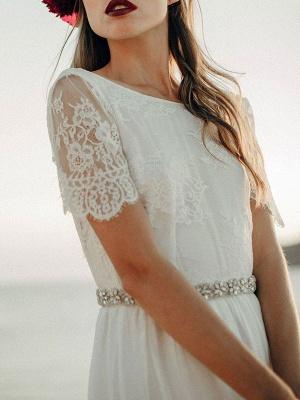 Einfache Hochzeitskleid A-Linie Jewel Neck Spitze Kurzarm Bodenlangen Chiffon Strandhochzeit Brautkleider_4