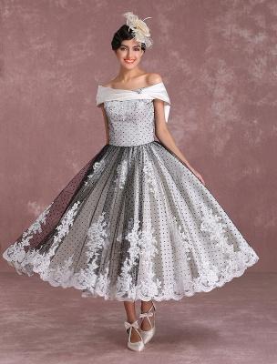 Black Wedding Dresses Vintage Short Bridal Gown Lace Off The Shoulder Polka Dot Print Bridal Dress With Bow At Back Exclusive_1